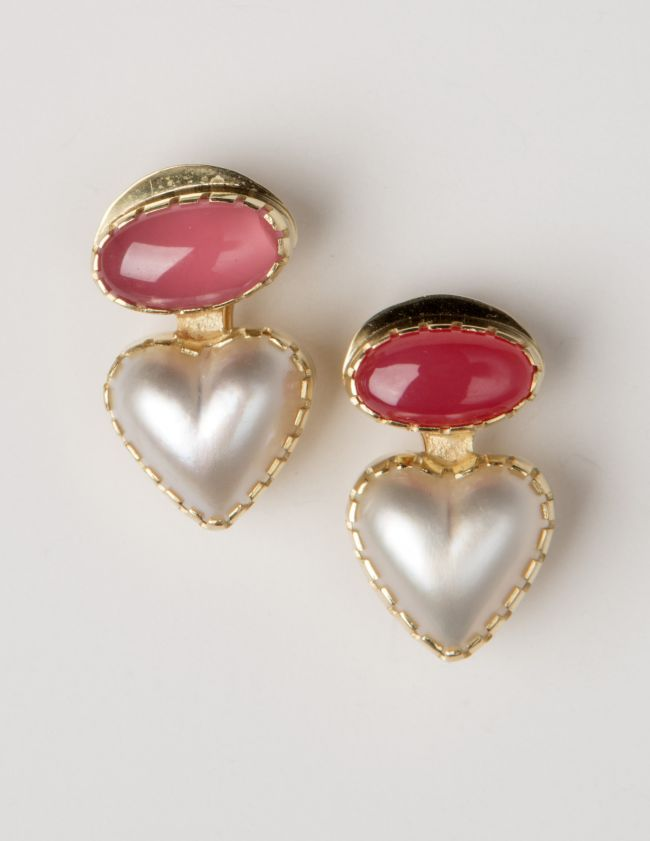 Earrings: Bustamite & Heart-shaped Mabe Pearls